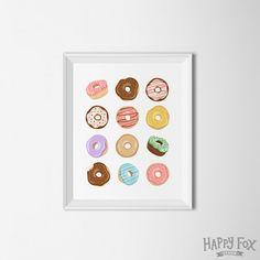 Donut printable, donut wall art, sweets print, food art print, doughnut print, kitchen decor, doughnut illustration, doughnut wall art