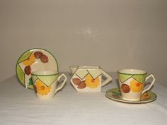 PEARL WARE EDNA BEST DESIGN ART DECO SHAPED COFFEE DUOS & JUG RARE & STUNNING