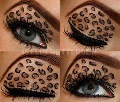 halloween eye make up Leopard Eyes, Leopard Makeup, Leopard Spots, Brown Leopard, Beauty Makeup, Hair Makeup, Hair Beauty, Makeup Tips, Makeup Eyeshadow