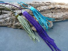 Crystal Necklace - Leather Wrapped Crystal - Purple - Sage or Turquoise - Fringed Quartz Point - Boho Gypsy - Tribal Fusion - Ceremony