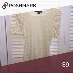 Lace see-through bodycon shirt from Forever 21. A short sleeved fancy top, can be paired with jeans or a high waisted skirt. It stretches and has a little bit of design on it. Only worn once, in very good condition-looks brand new. Forever 21 Tops Tees - Short Sleeve