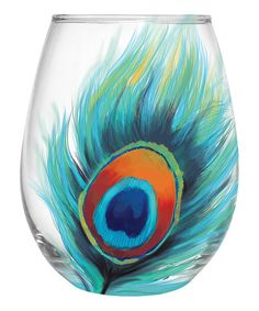 Look at this Peacock Feather Stemless Wineglass on #zulily today!
