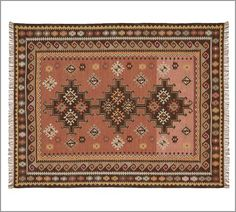 I know it's a kilim/Turkish pattern, but they always look a little desert southwest to me. But it's a different kind of pattern than we've looked at before, sparer, more squared and geometric. Tighter color palette. If this kind of pattern interests you I can show you a lot more variants.