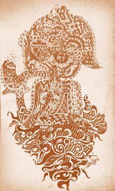 Saci-pererê. Illustration on scratch book.