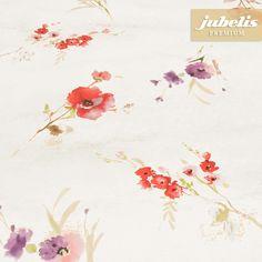 jubelis® Premium-Wachstuch mit Geweberückseite Gelise mit roten und violetten Blumen