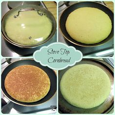 At Home With Edna - Cornbread made on top of the stove! My favorite cornbread recipe. ~E~ (Stove Top) Stove Top Cornbread, Skillet Cornbread, Cornbread Recipes, Cooking Bread, Bread Baking, Cooking Recipes, Skillet Recipes, Skillet Meals, Recipes