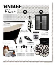 """Black & White Vintage Bath"" by grapecrush ❤ liked on Polyvore featuring interior, interiors, interior design, home, home decor, interior decorating, Ström, Avanti, Menu and Elegant Home Fashions"