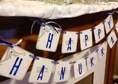 HAPPY HANUKKAH  Banner Sign Garland Decoration festival of lights. $20.00, via Etsy.