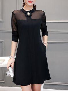Doll Collar See-Through Plain Pocket Shift Dress-Berrylook Cheap Dresses, Nice Dresses, Casual Dresses, Fashion Dresses, Summer Dresses, Classic Outfits, Stylish Outfits, Plain Dress, Mode Hijab