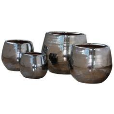 Pot Cancale en terre cuite émaillée, coloris métal Ø 21 x H. 21 cm