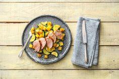 Roasted pork tenderloin with lemony zucchini, potatoes, & red onions.  Hello Fresh win.