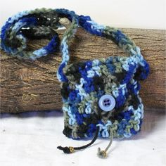 Handmade Crochet Medicine, Sage Pouch, Stone Bag, Mojo, Spirit 3.5X3.5 Blues