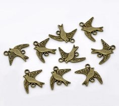 6 #Antique #Bronze #Bird #Charm #Connectors 17x21mm. Ships from the USA. #handmade #thecraftstar $1.69