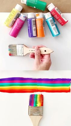Set up this clever rainbow brush painting in a few minutes. Mesmerizing rainbow art project for the kids! Rainbow Quote, Rainbow Theme, Rainbow Art, Rainbow Colors, Rainbow Unicorn, Painting For Kids, Art For Kids, Rainbow Painting, Spring Crafts For Kids