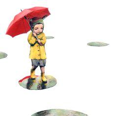 Little G — (via rain mariagiron. Rain Go Away, Under The Rain, Going To Rain, Wind And Rain, Under My Umbrella, Rainy Days, Book Art, Whimsical, Folk