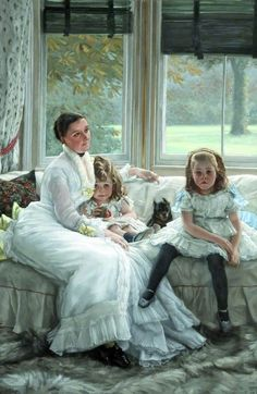 1877 Catherine Smith Gill (d.1916), and Two of Her Children by James Tissot