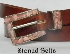 Women's Pink Chico's belt with brown leather belt and rare Rhodochrosite gemstones in Silver Belt Buckle.
