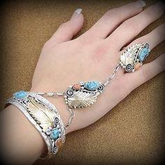 Turquoise Coral 925 Sterling Silver Gold Slave Bracelet