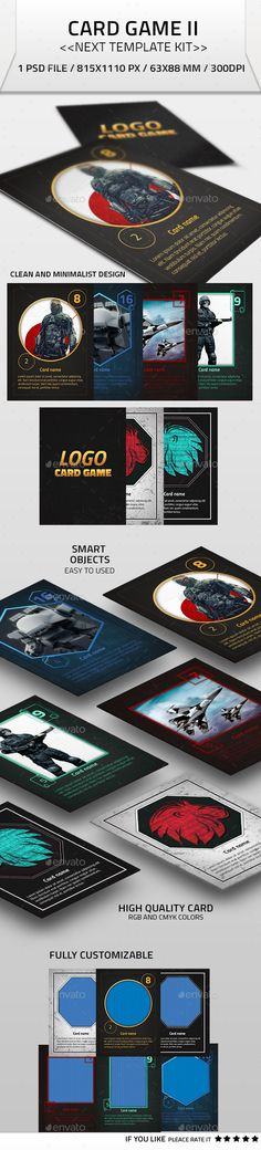♦Card Game II Kit Template  Clean and minimalist design Different styles of card Smart objects easy to used 300dpi, CMYK and RGB colors