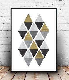 Abstract art,triangle pattern print, Geometric decor, Black and gold print, Watercolor print, nordic design, minimalist print, simple art
