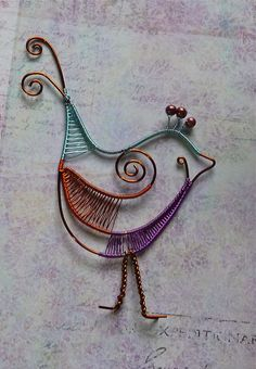 Woven Colored Wire Bird by auntgriz, via Flickr