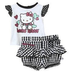 Hello Kitty niños bebé niña Verano Outfit-Camiseta + Pump Pantalón cuadros 74-80 #camiseta #friki #moda #regalo