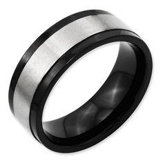 Titanium Beveled Edge 8mm Black IP-plated Satin and Polished Band