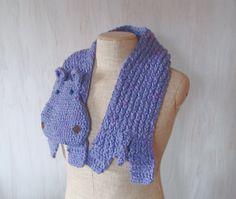 Yarn hippo Handmade soft scarf Crochet knit scarf Animal scarf Lilac hippo Hippo scarf Children scarf Light purple Original unique Whimsical - pinned by pin4etsy.com