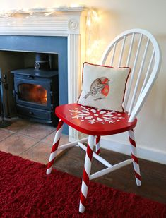 Christmas dinner wouldn't be the same without a miss-match of chairs and stools for the family to perch on. However this year why not give each of them a new lease of festive life like Cassie Fairy with this traditional Ercol chair. Painted Wooden Chairs, Whimsical Painted Furniture, Christmas Chair, Christmas Wood Crafts, Xmas, Diy Kids Furniture, Funky Furniture, Plywood Furniture, Furniture Design