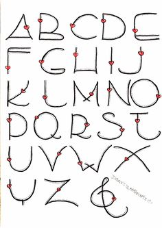 AlphabetLettering Alphabet Love calligraphy bullet journal lettering tips calligraphie carnet bujo Heart Alphabet by Bilingual Scrapbook Graffiti Alphabet, Hand Lettering Alphabet, Doodle Lettering, Creative Lettering, Lettering Styles, Calligraphy Letters, Alphabet Fonts, Brush Lettering, Bullet Journal Font