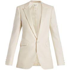Saint Laurent Peak-lapel single-breasted wool-blend blazer (€3.045) ❤ liked on Polyvore featuring outerwear, jackets, blazers, ivory, white blazer jacket, button jacket, peak lapel blazer, one button jacket and shoulder pad jacket