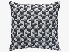 PAULISTA GREY Cotton Black and white quilted cushion 60 x 60cm - HabitatUK