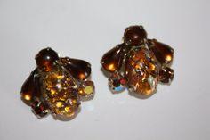 Vintage Earrings Weiss Art Glass Rhinestone 1950s by patwatty, $15.00
