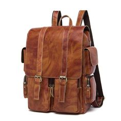 129.00$  Buy now - http://ali5n4.worldwells.pw/go.php?t=32726758629 - Men's Genuine Leather Military Rucksack Fashion Travel Bag School Bag Shoulder Backpack