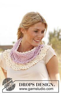 "Shower of Lace - Crochet DROPS neck warmer in ""Merino Extra Fine"". - Free pattern by DROPS Design"