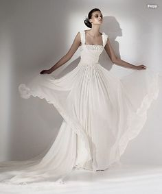 Enticing Straps Appliques Wrinkled Chiffon Empire Waist Bridal Gown (EWWD-103)