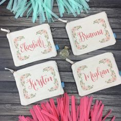 Our adorable personalized makeup bags are the oh so perfect favor for your bridal party! They'll get tons of use out of them even long after your wedding!!