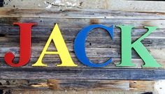 """Wooden Letters for nursery read//play//jack//draw//jump// Nursery Kids Room  Wooden Letters 14"""" Nursery Decor Wall Hanging, Custom Alphabet"""