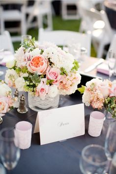 solid (lighter) grey linen, lace wrapped centerpiece and pink lace wrapped votives. Idea if overlay doesn't workout