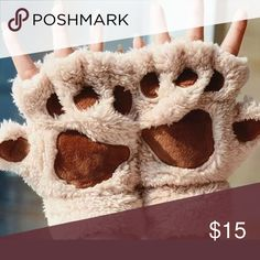 Plush Glove Half Covered Soft Toweling Mittens Bear Paw Fluffy Plush Glove Winter Half Covered Soft Toweling Mittens Accessories Gloves & Mittens