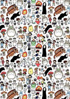 Kawaii Ghibli Doodle Art Print by KiraKiraDoodles on Etsy Hayao Miyazaki, Studio Ghibli Art, Studio Ghibli Movies, Wallpaper Animé, Trendy Wallpaper, Studio Ghibli Characters, Totoro Characters, Anime Characters, Pokemon