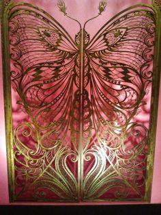 art nouveau butterfly door