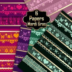 Mardi Gras digital paper by Futurel on @creativework247
