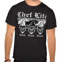 Laughing Chef Skulls T-Shirt: Chef Life Tee Shirts
