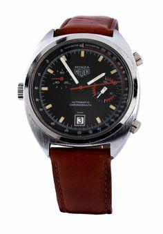 """Chronograph """"Monza"""" von HEUER in einem verschraubten Stahlgehäuse, Durchmesser: 39 mm, Plexiglas, Referenz 150.511, Anfang der 70er Jahre. Schwarzes..."""