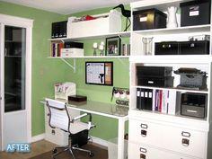 Colocar el escritorio contra la pared ayuda a aprovechar el espacio de la misma.   Place the desk against the wall to take advantage of its space.