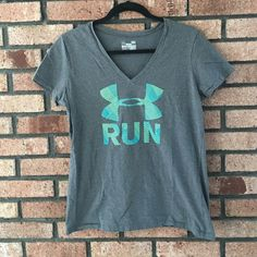 Under Armour 'Run' Tee Excellent condition. Great for working out. Semi- fitted. V neck! No stains or rips. Prices are not firm unless stated. Please make your best offer!! Not my size I do not model.  ✅REASONABLE OFFERS  SHIPS SAME OR NEXT DAY NO TRADES/ HOLDS NO PAYPAL  SMOKE FREE HOME  PERSONALIZED BUNDLES  UNSURE? PLEASE ASK QUESTIONS  CANT FIND IT? SOLD ELSEWHERE Under Armour Tops Tees - Short Sleeve