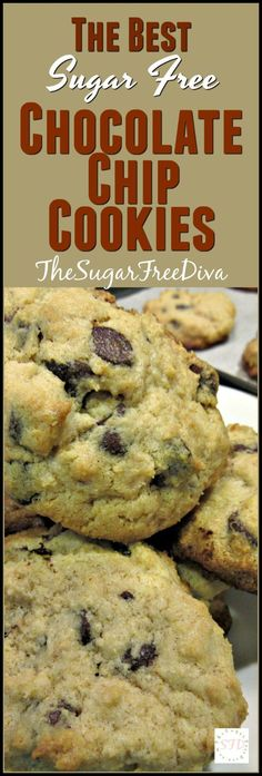 The Best Sugar Free Chocolate Chip Cookies- YUM! This recipe is so good too! The Best Sugar Free Chocolate Chip Cookies- YUM! This recipe is so good too! Sugar Free Deserts, Sugar Free Sweets, Sugar Free Cookies, Sugar Free Recipes, Chip Cookies, Flour Recipes, Weight Watcher Desserts, Mini Desserts, Low Carb Desserts