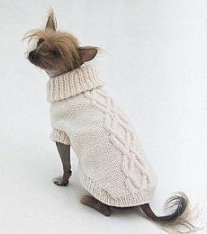 вязаная одежда для собак свитер спицами