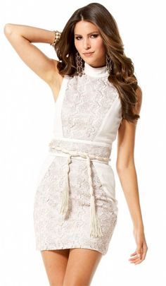 Beige lace mini dress, can pair up with black pumps and gold accessories!